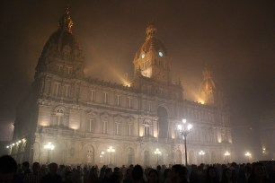 Lovely misty town hall