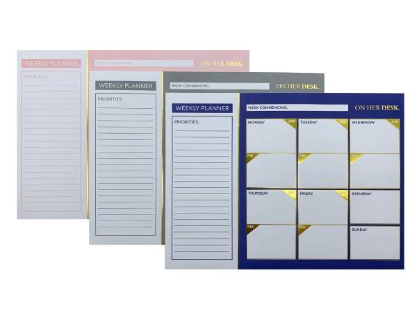 weekly planners in various stylish colours