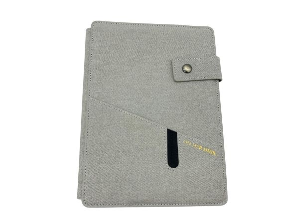 A5 covered notebook in grey with custom initials or name