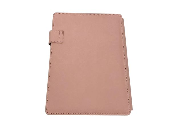 A5 covered notebook in pink, back cover view