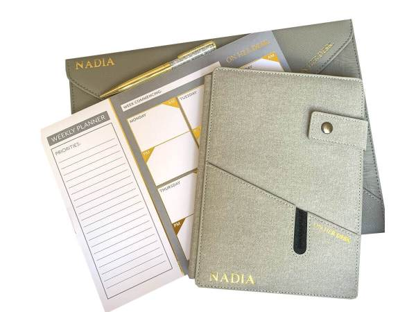 signature collection stationery bundle in grey