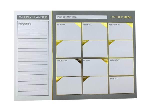 weekly planner in grey