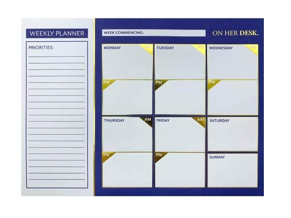 weekly planner in navy blue