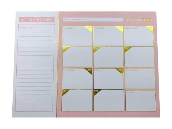 weekly planner in pink