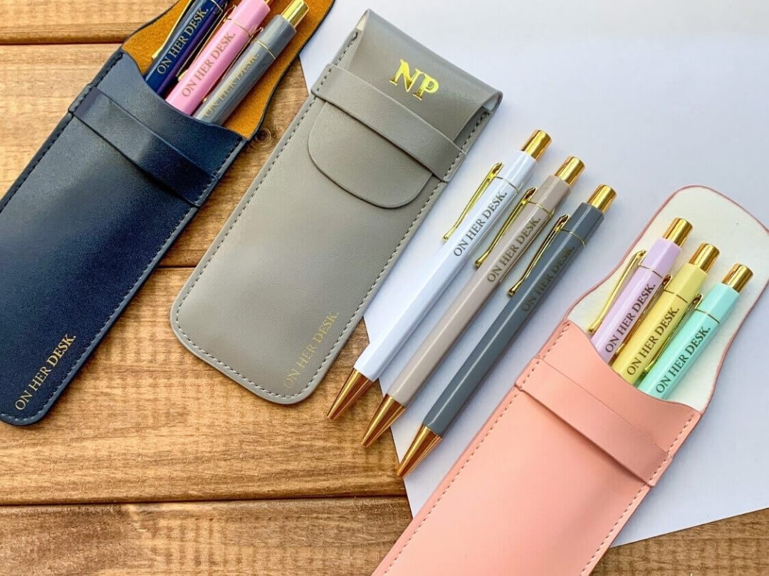 monogrammed leather pouch of trilogy pen set