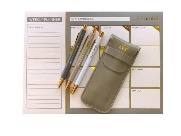 desk planner gift set in grey