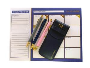 desk planner gift set in navy blue