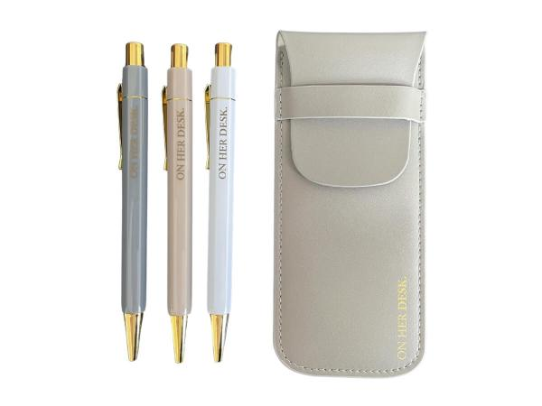 trilogy pen set in a grey pouch