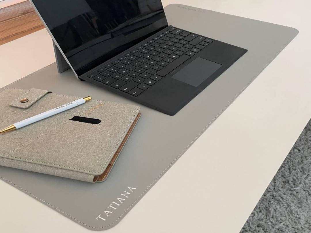 desk mat with monogramming
