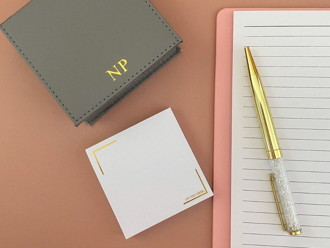 monogrammed sticky note holder with personalisation