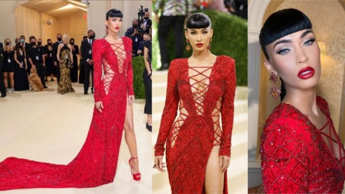 Megan Fox Wows at Met Gala 2021 in a Plunging Red Lace-Up Dundas Gown Covered in Sequins and Cutouts (View Pics)