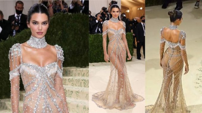 Met Gala 2021: Kendall Jenner Shines in Sheer Nude Givenchy Gown Adorned With Glittering Gemstones (View Pics & Video)