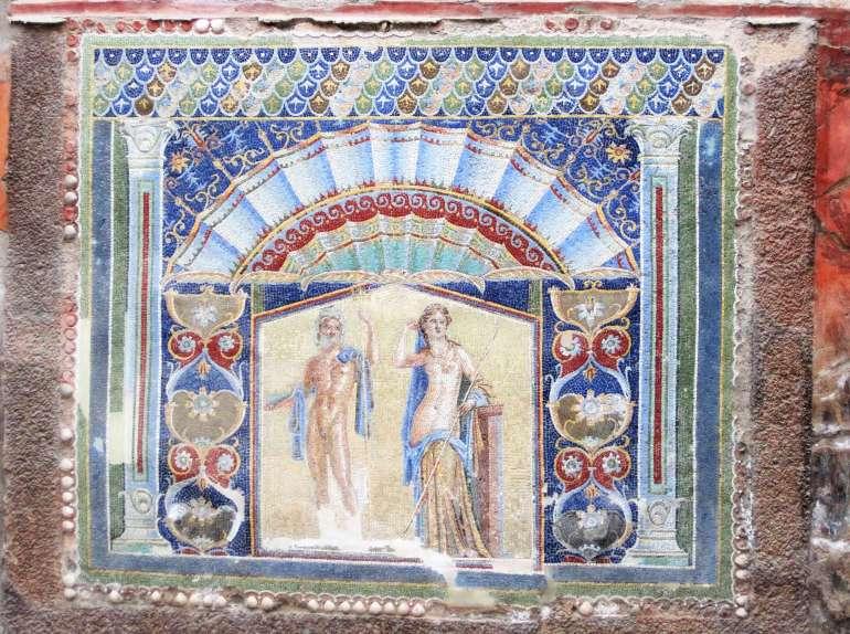 Mosaiques salle de bain d'une maison à Pompéi