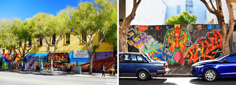 Rue de Mission District à San Francisco pleine de Street Art