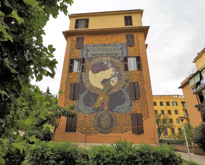 Street-art-à-Rome-Diamond-Hic-sunt-adamantes-Tor-Marancia