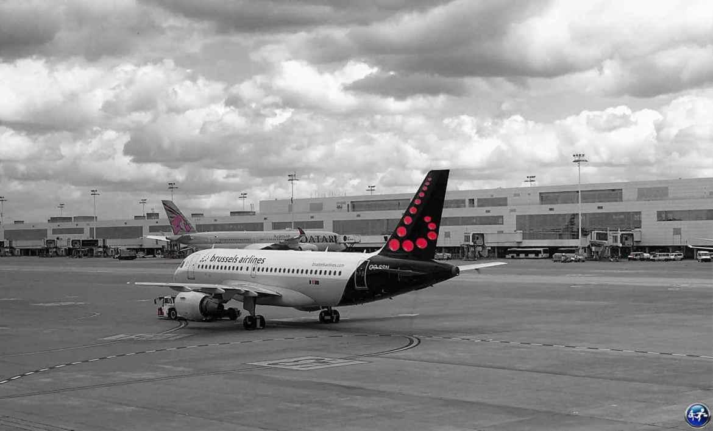 aéroport de Bruxelles avec l'avion de brussels airlines en Belgique