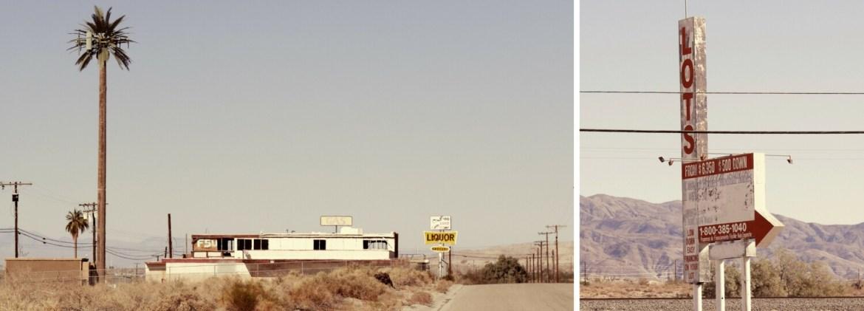 Salton Sea panneaux qui tombent en ruinent