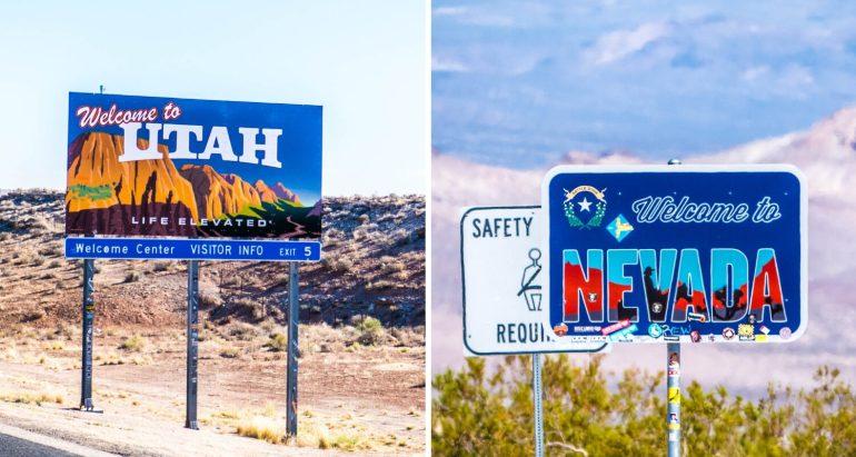 Panneaux Utah-Nevada lors de notre road trip dans l'Ouest américain