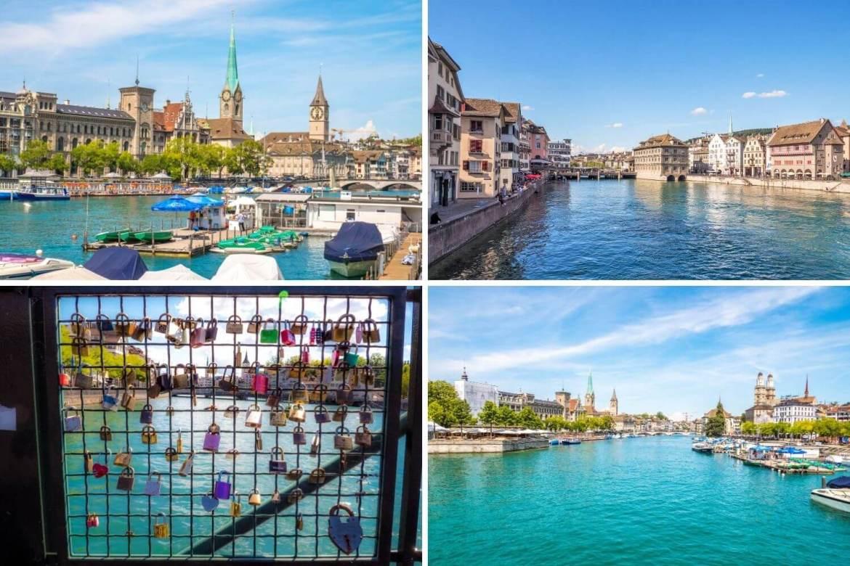Balade au bord de la Limmat vieille ville Zurich