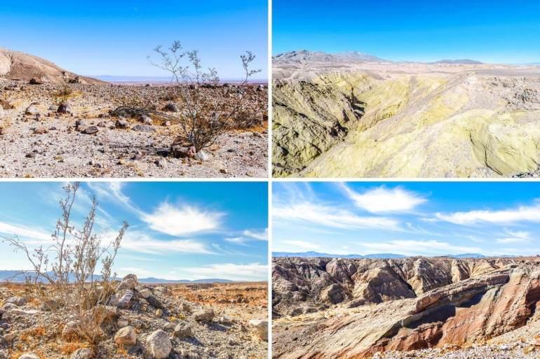 Vue sur Anza Borrego Desert depuis randonnée Palm Wash Slot Canyon