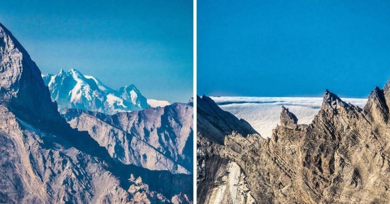 Schilthorn Piz Gloria vue Mont-Blanc et mer brouillard Valais