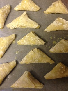 Festive filo mincepies. Triangles for the traditional Coventry God Cakes given to god-children at New Year.