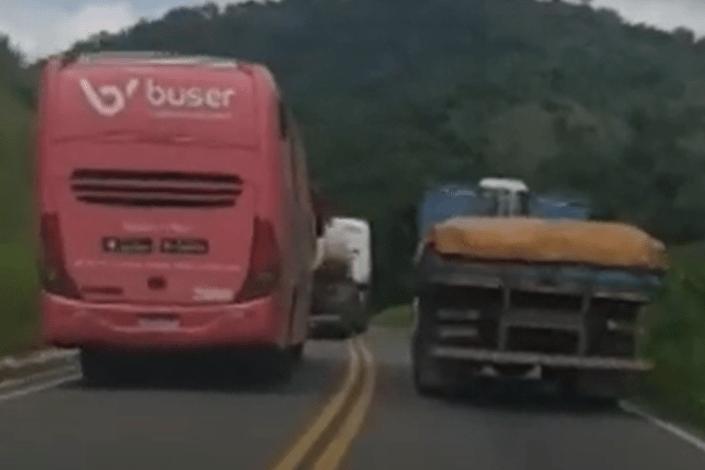 Ônibus da Buser é flagrado fazendo várias ultrapassagens proibidas na BR-267