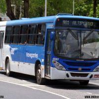 Marcos da Silva adesiva ônibus com o nome da Navegantes