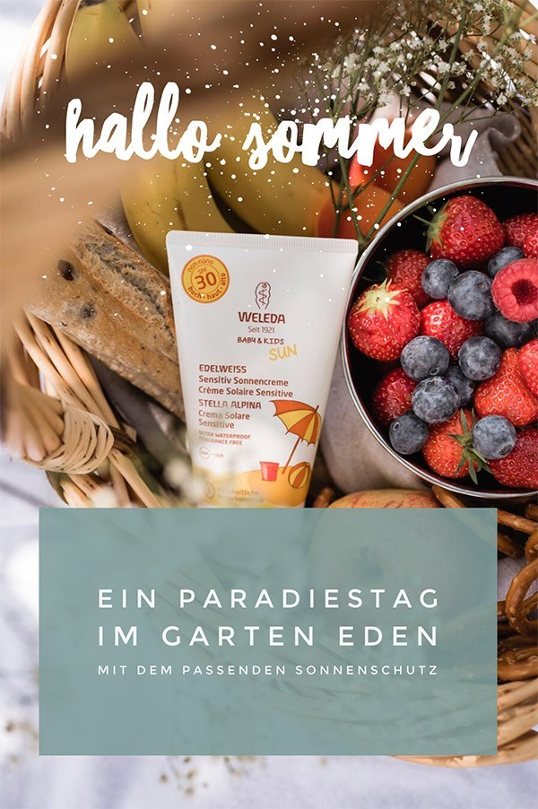 A picnic in the Garden of Eden and the matching sun protection from Weleda #lebenmitkinder #sun protection # sun cream # natural cosmetics # weleda