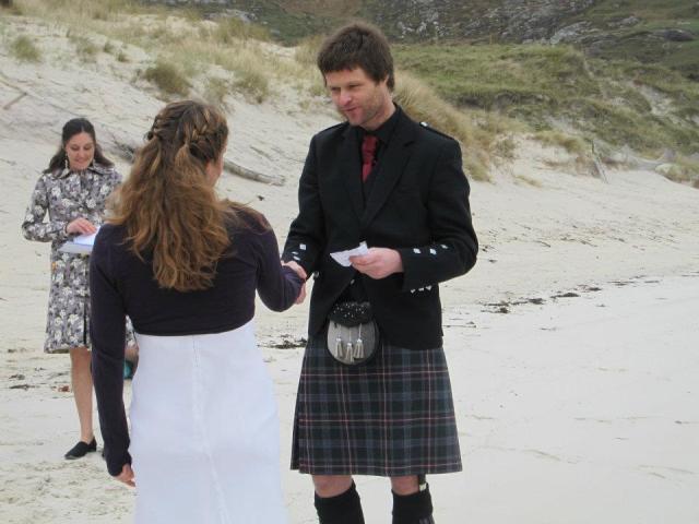 Remote Wedding Ceremony on a Scottish Beach conducted by Wedding Celebrant, Onie Tibbitt.