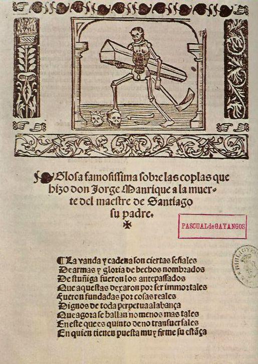 Primera página de Coplas a la muerte... de Jorge Manrique