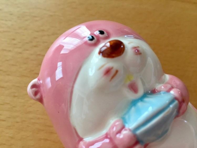 ピンク ラッコ 貯金箱 レトロ FUJIKA