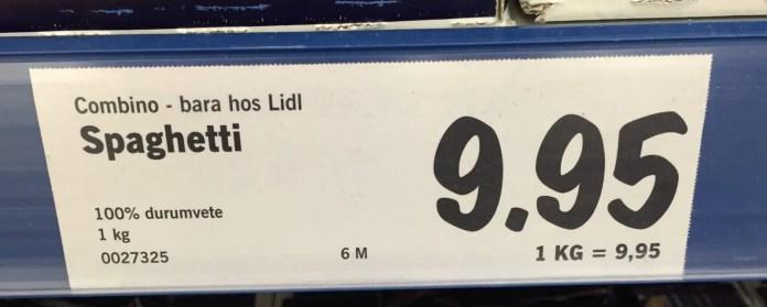 En av Lidls paradgrenar. Pastan är kanon, både till pris och kvalité!