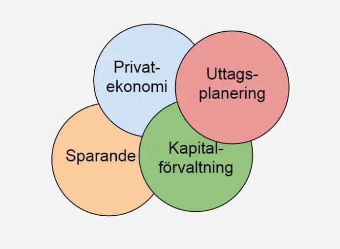 Helt ovetenskapligt så kan vi säga att en tidig pensionär måste intressera sig för följande områden. Nils bok täcker det röda området vad gäller skatter och bidrag.