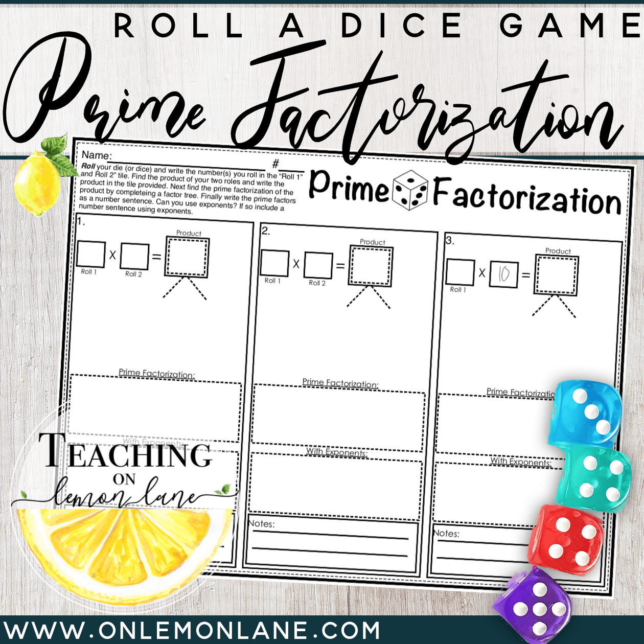 Prime Factorization With Exponents Dice Game Prime