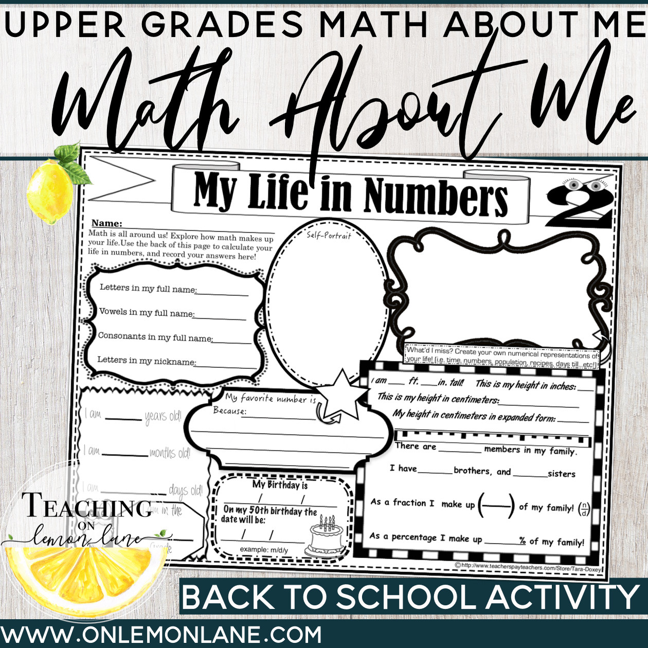 Back To School Math All About Me Get To Know You First