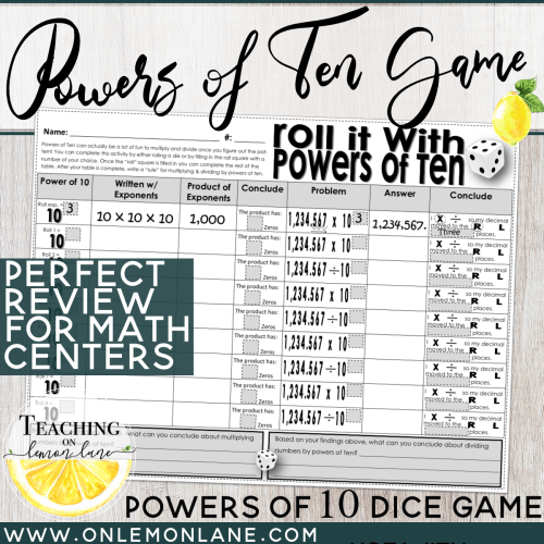 small resolution of Roll it! Powers of Ten Dice Game (Multiplying Dividing Decimals w/ Powers  of 10)   On Lemon Lane