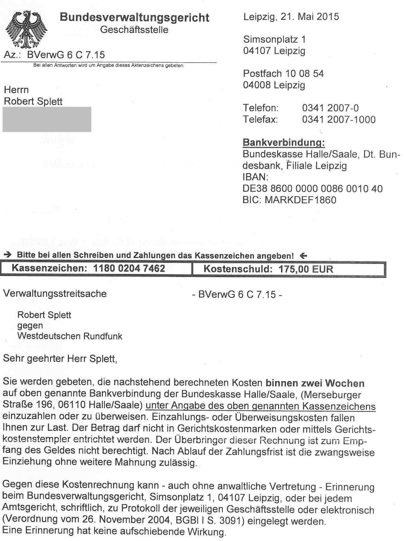 Spendenaufruf  Revision vor dem BVerwG  Az 6 C 715