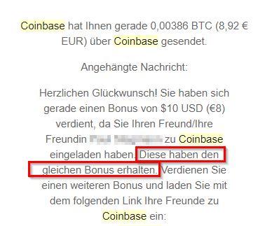 Coinbase Gutschrift Bitcoins