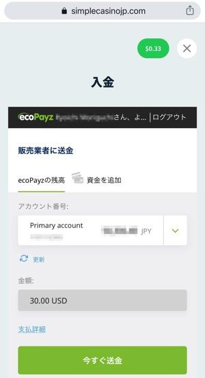 シンプルカジノ 入金方法 エコペエイズ 確認画面
