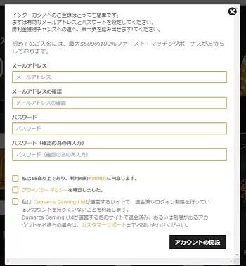 インターカジノ登録手順4