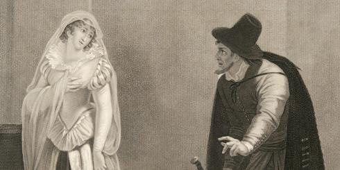 A man in a hat and cloak looks with uncertainty toward a woman in white, who looks back at him.