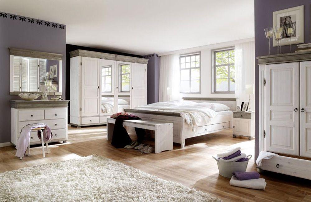 SchlafzimmerSet im Landhausstil Oslo von Euro Diffusion Massivholzmbel in Wei Lava Mbel Letz