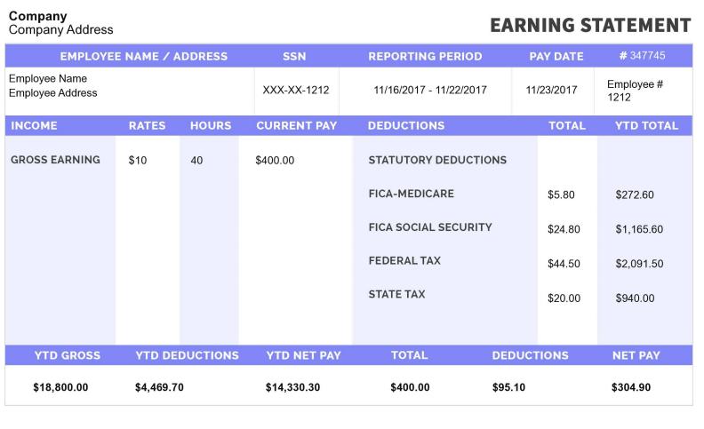 free printable pay stubs online-sample - Online Paystub