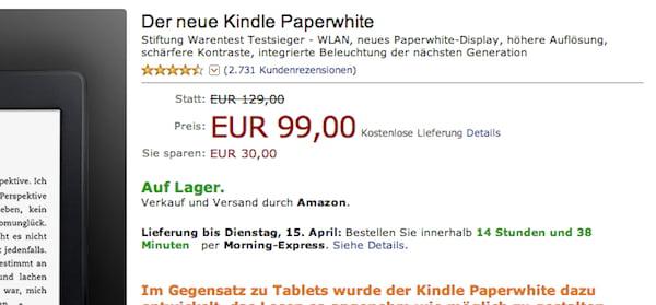 amazon kindle paperwhite 99 euro