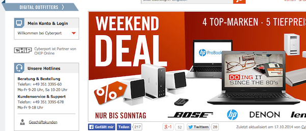 cyberport weekend deals 19.10.2014