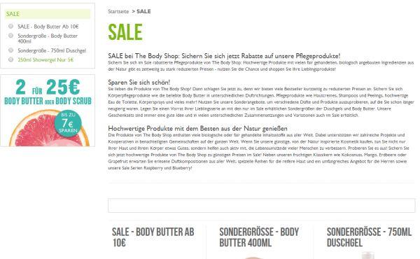 the body shop 3 für 2 sale aktion