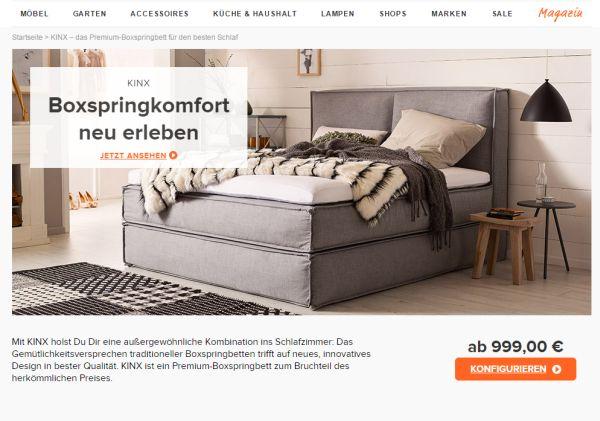 home24 kinx boxspringbetten mit 15 prozent rabatt. Black Bedroom Furniture Sets. Home Design Ideas