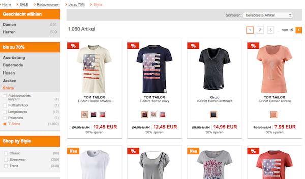 sportscheck t shirt sale 50 prozent rabatt