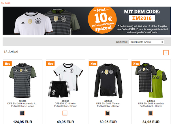 dfb em 2016 trikot 10 euro rabatt sportscheck